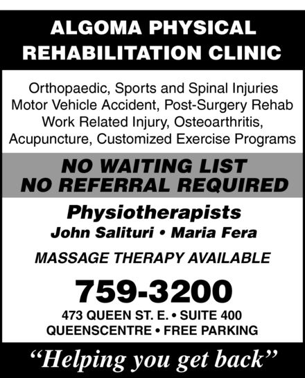 Ads Algoma Physical Rehabilitation Clinic