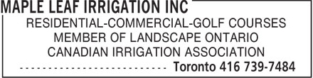 Ads Maple Leaf Irrigation Inc