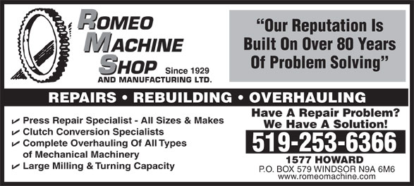 Ads Romeo Machine Shop & Manufacturing Limited