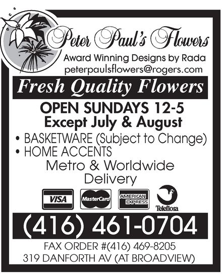 Ads Peter Pauls Flowers