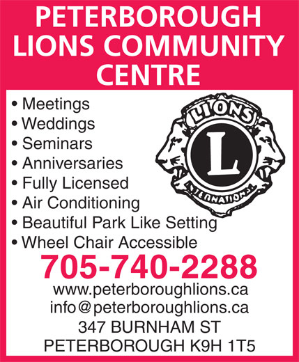 Ads Peterborough Lions Club Community Centre
