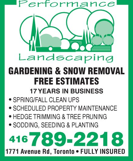 Ads Performance Landscaping Gardening &amp; Snow Removal