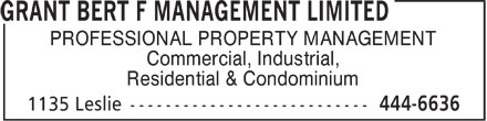 Ads Grant Bert F Management Limited