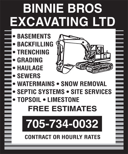 Ads Binnie Bros Excavating Ltd