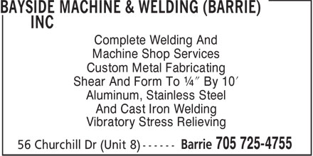 Ads Bayside Machine & Welding (Barrie) Inc