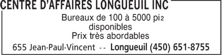 Ads Centre d'Affaires Longueuil Inc