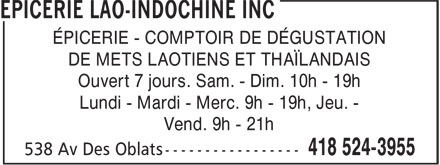 Ads Epicerie Lao-Indochine Inc