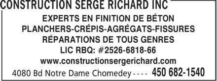 Ads Construction Serge Richard Inc