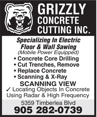 Ads Grizzly Concrete Cutting Inc