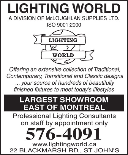 Lighting World - St John's, NL - 22-24 Blackmarsh Rd | Canpages