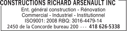 Ads Construction Richard Arsenault (Les)