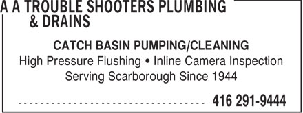 Ads A A Trouble Shooters Plumbing & Drains
