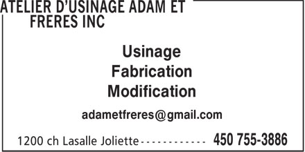 Ads Atelier d'Usinage Adam et Frères Inc