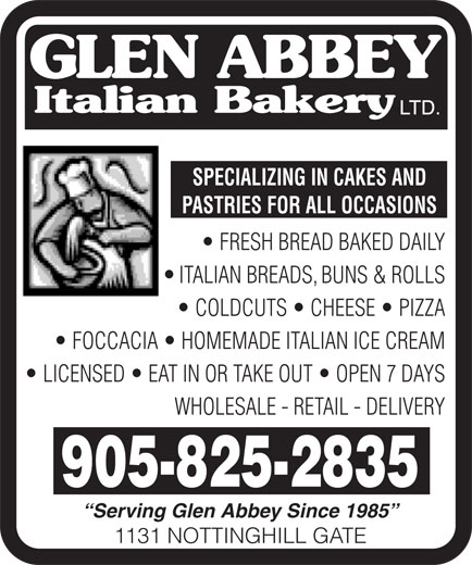Ads Glen Abbey Italian Bakery Ltd