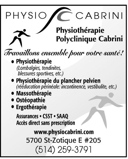 Ads Physiothérapie Polyclinique Cabrini Inc