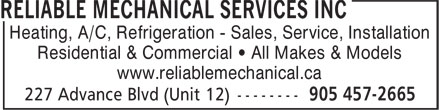Ads Reliable Mechanical Services Inc