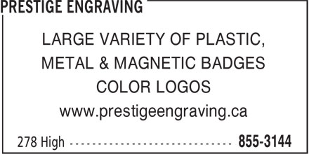 Ads Prestige Engraving