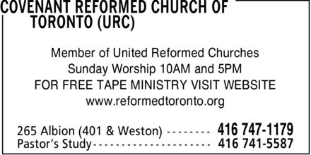 Ads Covenant Reformed Church Of Toronto (URC)