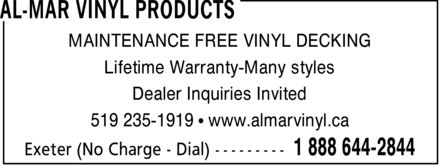 Ads Al-Mar Vinyl Products