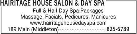 Ads Hairitage House Salon & Day Spa