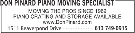 Ads Don Pinard Piano Moving Specialist