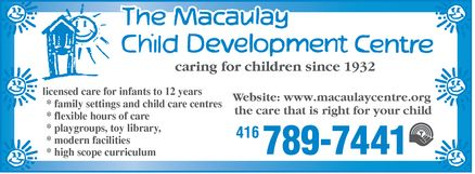 Ads Macaulay Child Development Centre Of Metropolitan Toronto