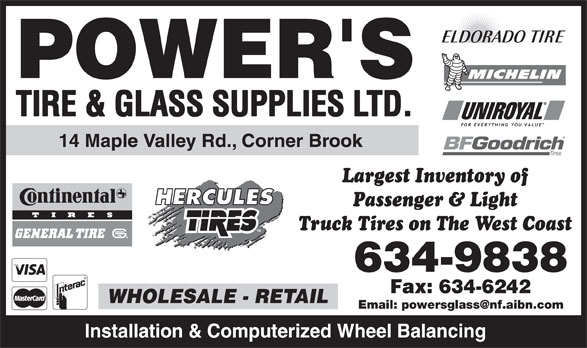 Ads Power's Tire & Glass Supplies Ltd