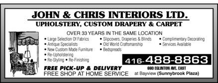Ads John & Chris Interiors Custom Upholstering & Draperies