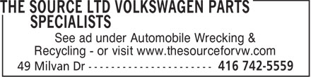 Ads The Source Ltd Volkswagen Parts Specialists