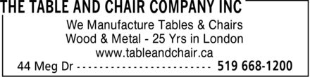 Ads The Table & Chair Company Inc
