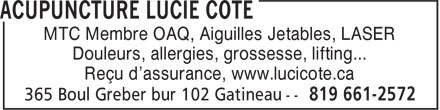 Ads Acupuncture Lucie Cote