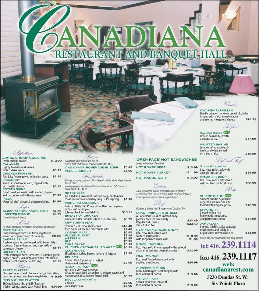 menu Canadiana Restaurant