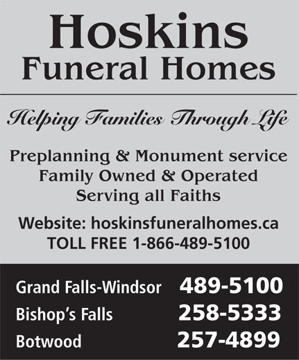Ads Hoskins Funeral Homes Ltd