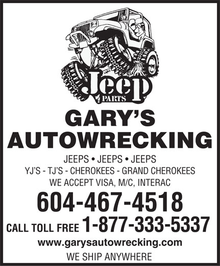Ads Gary's Auto Wrecking