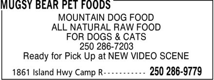 Ads Mugsy Bear Pet Foods