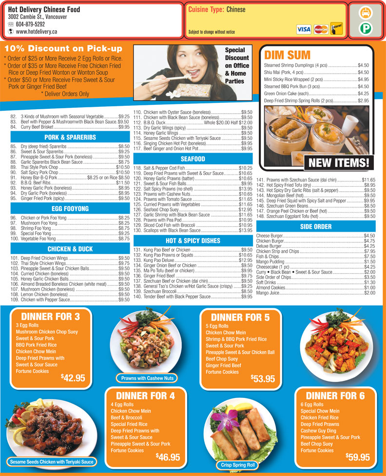 menu Hot Delivery Chinese Food