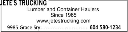 Ads Jete's Trucking