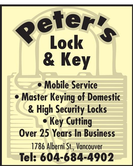 Ads Peter's Hardware & Locksmith
