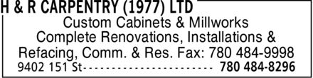 Ads H & R Carpentry (1977) Ltd