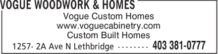 Ads Vogue Woodwork & Homes