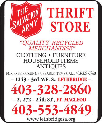 Salvation Army Lethbridge Ab 1249 3 Ave S Canpages