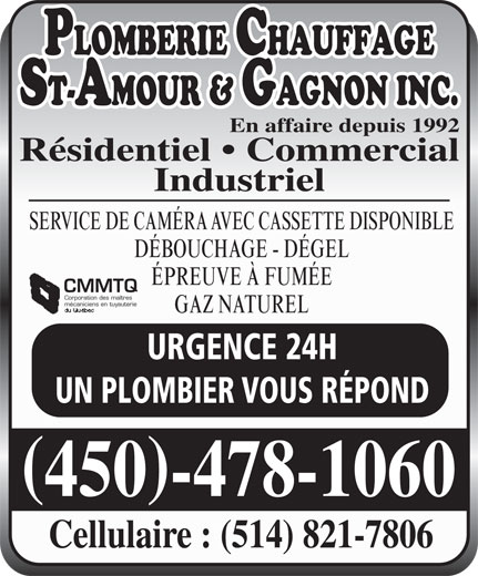Ads Plomberie Chauffage St-Amour &amp; Gagnon Inc - Secteur La Plaine