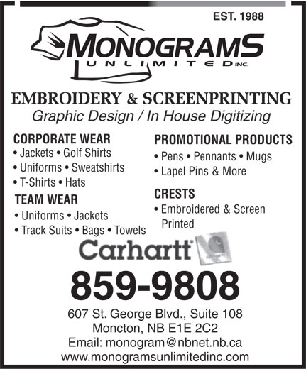 Ads Monograms Unlimited Inc