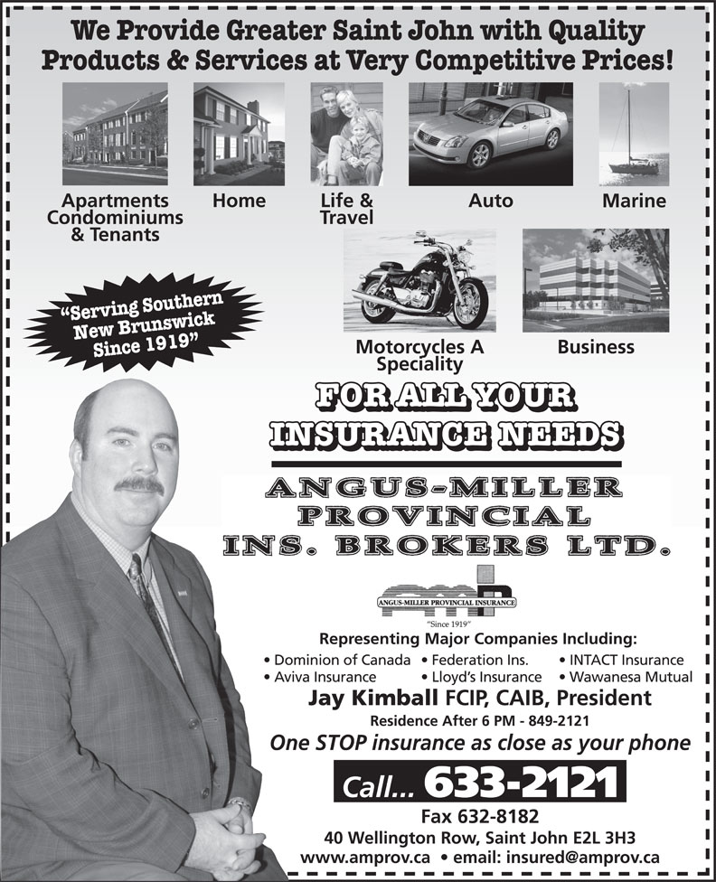 Ads Angus-Miller Provincial Insurance Brokers - Facsimile Service
