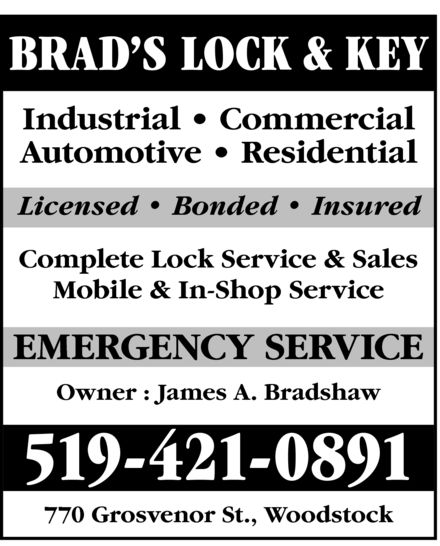 Ads Brad's Lock & Key