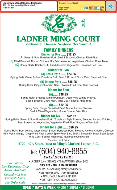 menu Ladner Ming Court Restaurant