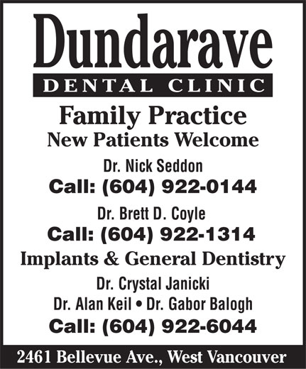 Ads Dundarave Dental Clinic - New Patients Welcome