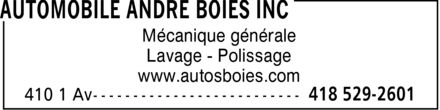 Ads Automobile André Boies Inc