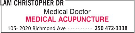 Ads Lam Christopher Dr - G P Acupuncture V8R 6R5