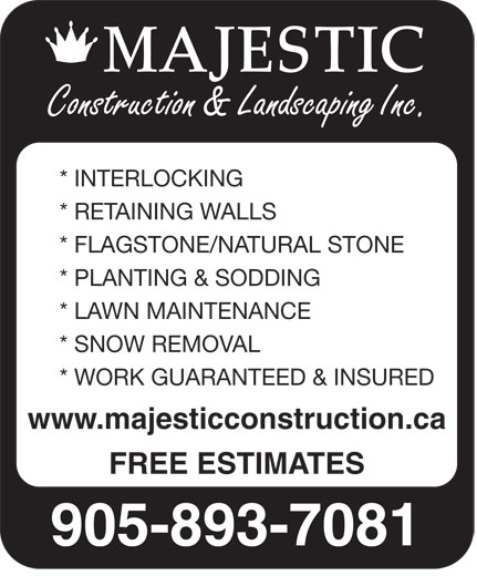 Ads Majestic Construction & Landscaping Inc